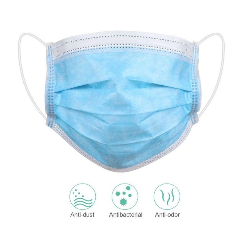 Disposable Face Masks - 3 layers blue (10pcs.)