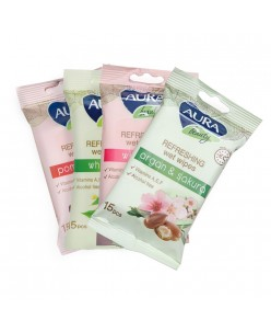 Aura Refreshing wet wipes 15 pcs. (4 smells)