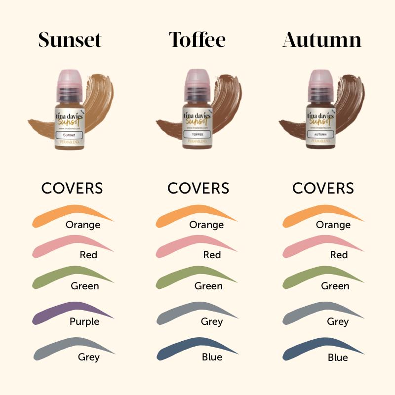 Tina davies Sunset Collection pigment color chart